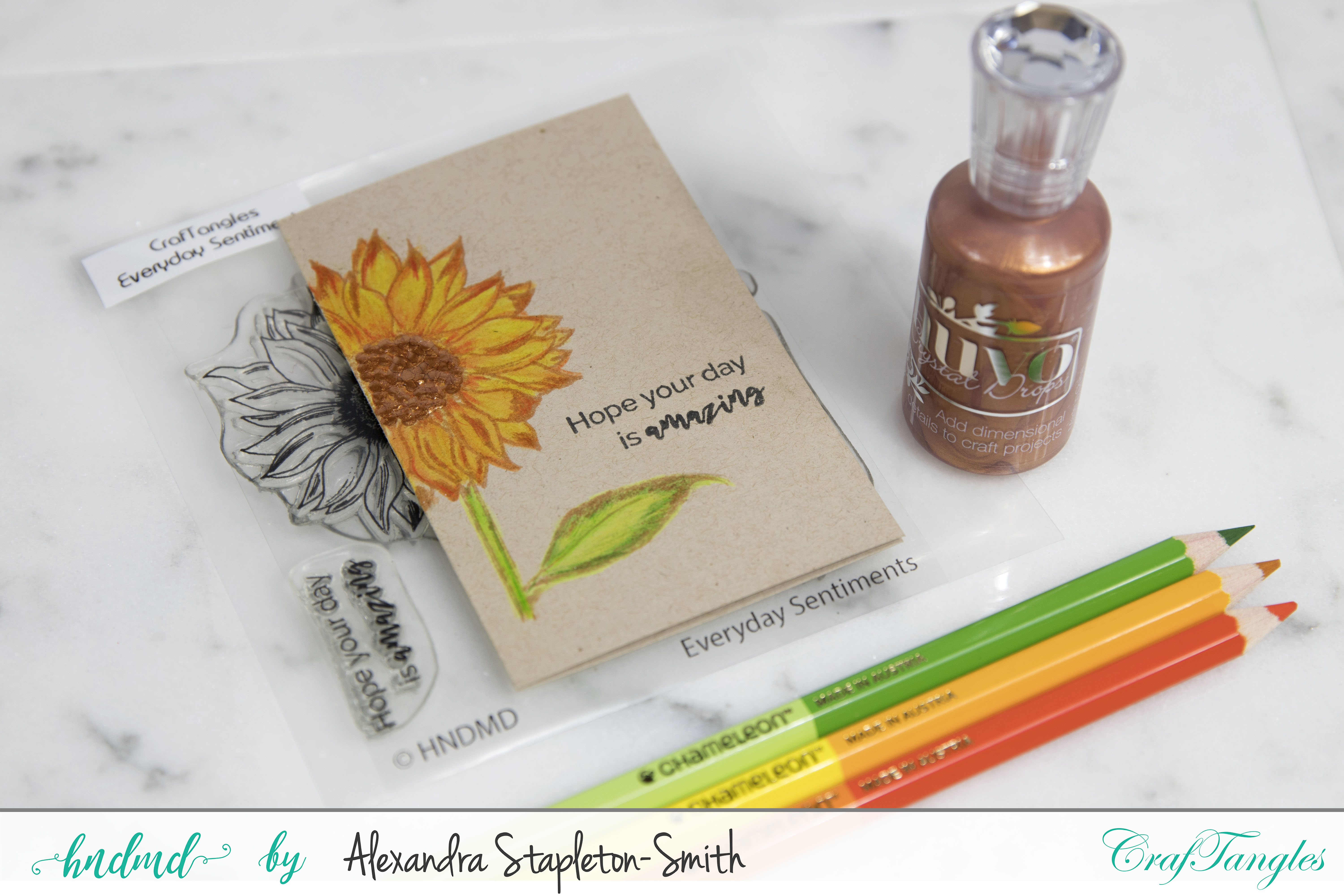 Fiery sunflowers using no line coloring techniques on neutral cardstock