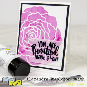 Stenciled Rose and Heat Embossing on Vellum