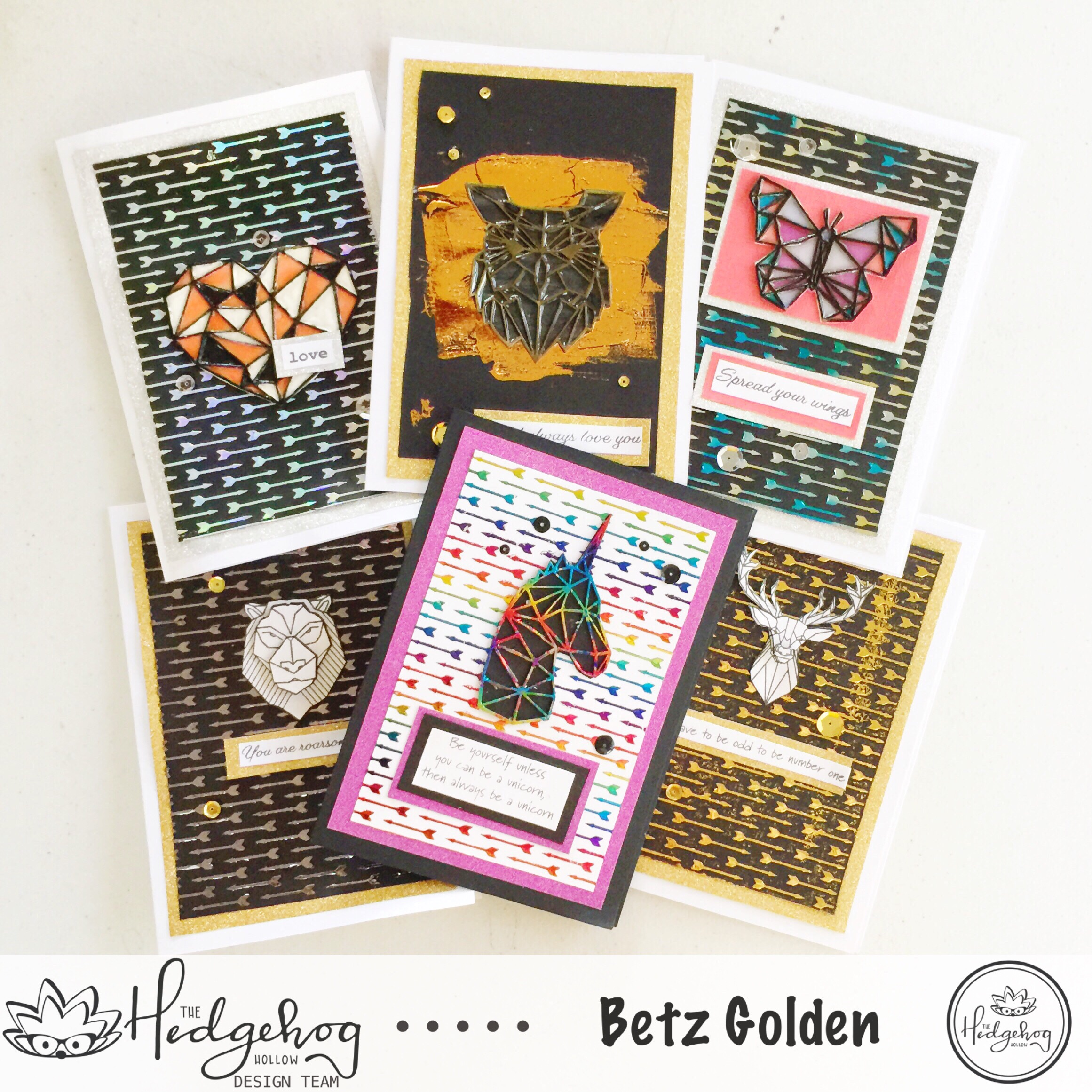 Deco Foiled Geo Card Set