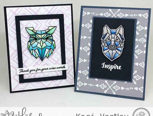 Watercoloring Geometric Owl and Wolf