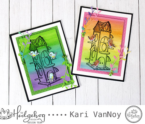 Watercolor Emboss Resist Birdhouse Card with Kari