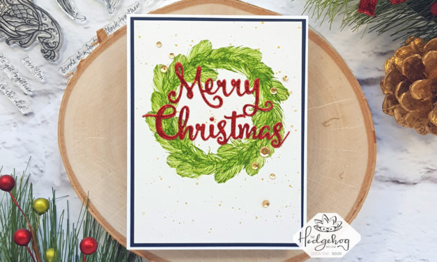 Easy, Faux-watercolored Christmas Card with the September 2019 Box