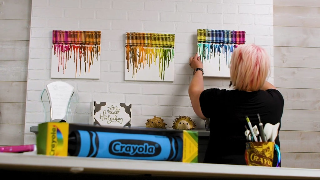 120 melted Crayola crayons Canvas halloween theme