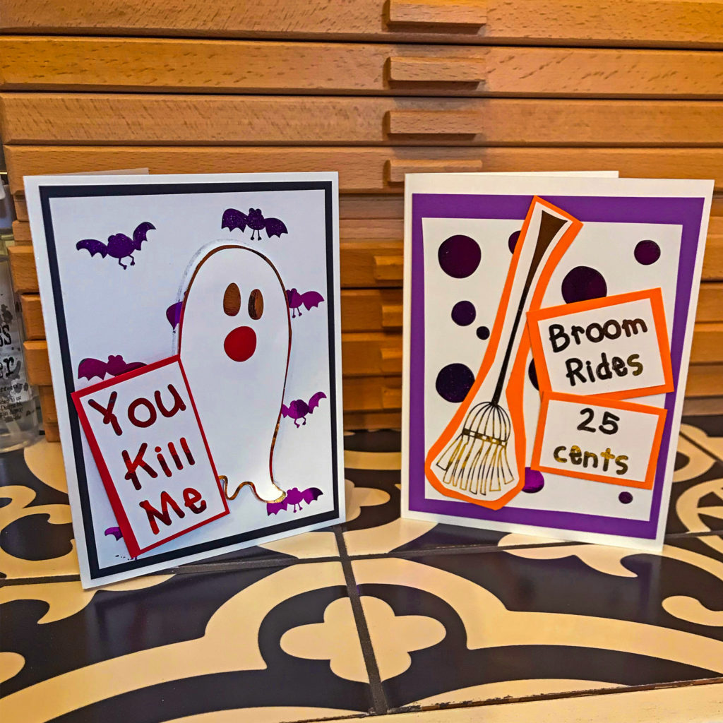 glaminator halloween cards with satin black card stock