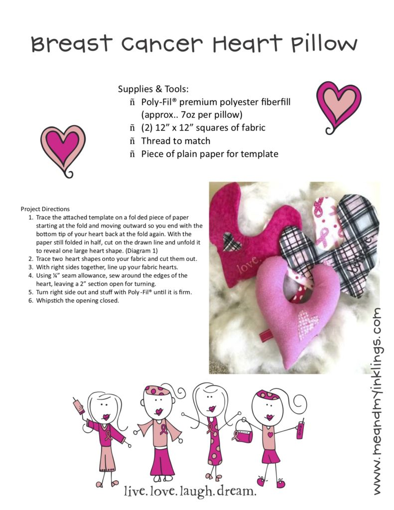 Breast Cancer awareness Heart Pillow Pattern