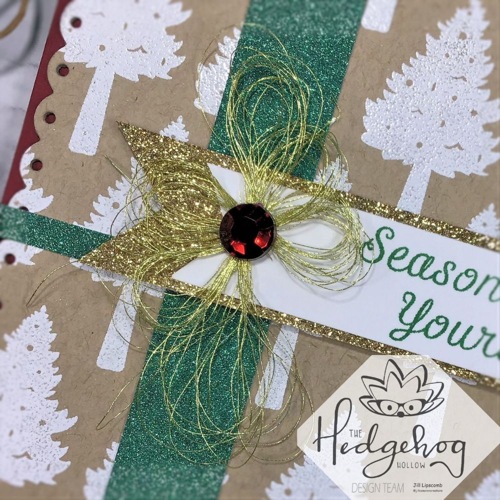 close up of gold thread bow hedgehog hollow october kit