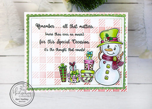 Pink & Lime Green Snowman Card with Kari