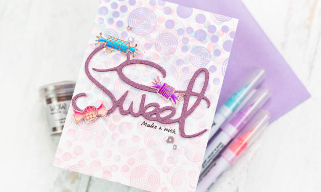 Triple Stencilled Candy Birthday Card with Jenny Colacicco