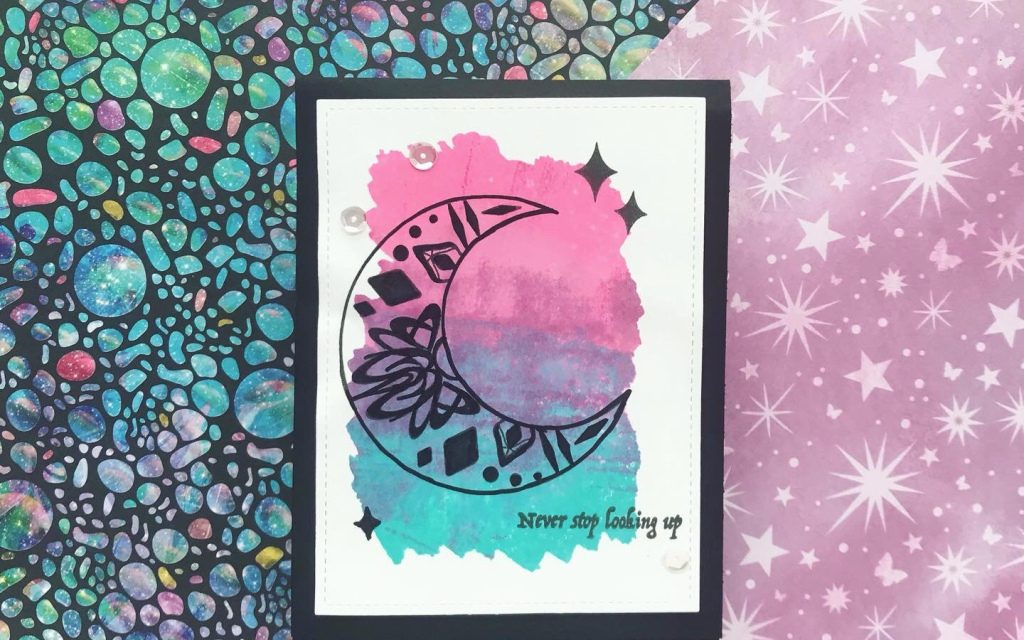 Stamping a Watercolor Effect with Distress Oxide Inks