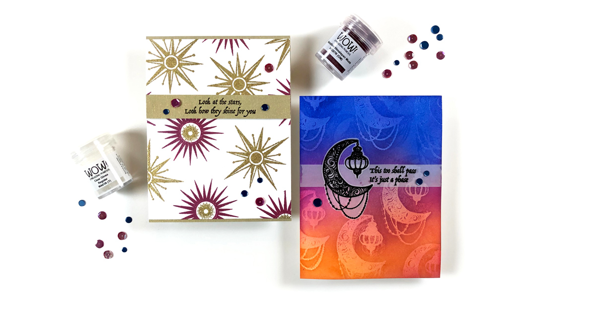 Moon & Stars Embossed Backgrounds with Amber