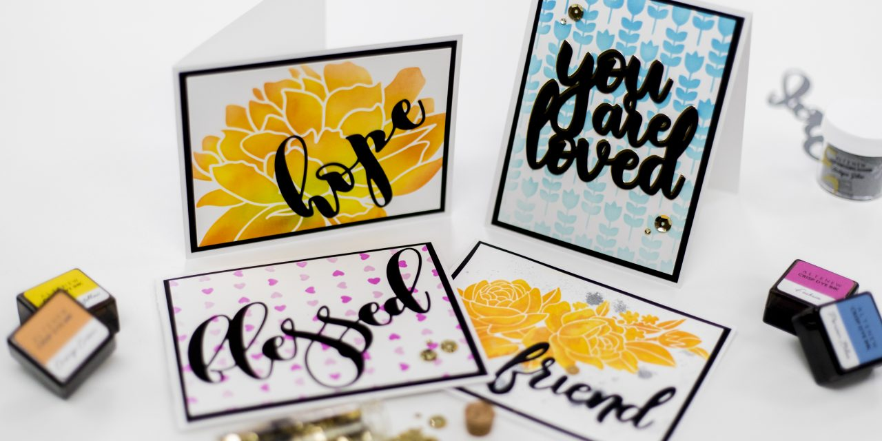 Easy cards with stencils & dies for Altenew's Stamps, Dies, Stencils, Stamping Mat, & Sequins Release Blog Hop + Giveaway