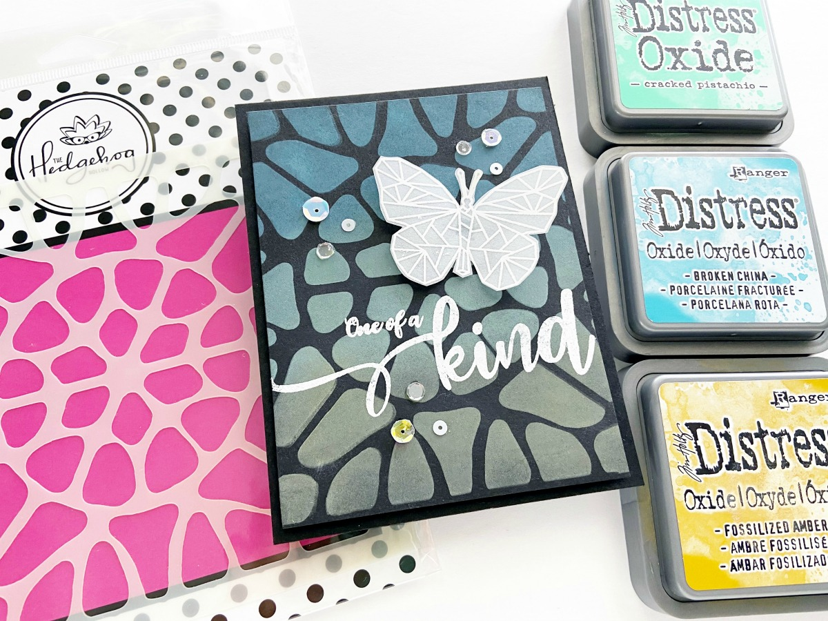A Simple and High Impact Card using the June 2020 Subscription Box Stencil and Stamp!