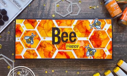 bee happy slimline card using alcohol inks
