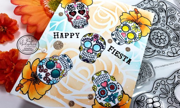 one layer card and easy masking! sugar skulls
