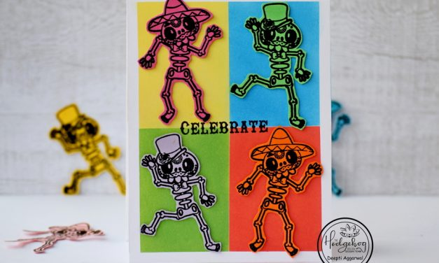 Celebration card with dancing skeletons- Inspired by Pop Art