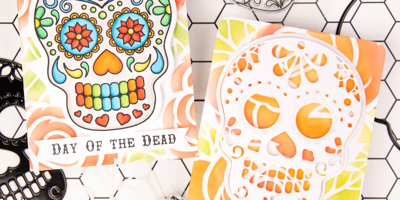 Colorful skull cards for day of the dead