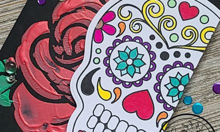 embossing paste & stencils sugar skull card