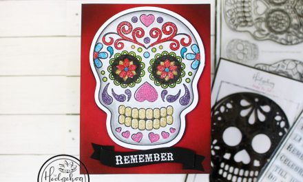 Coloring with embossing powder! Sugar skull card