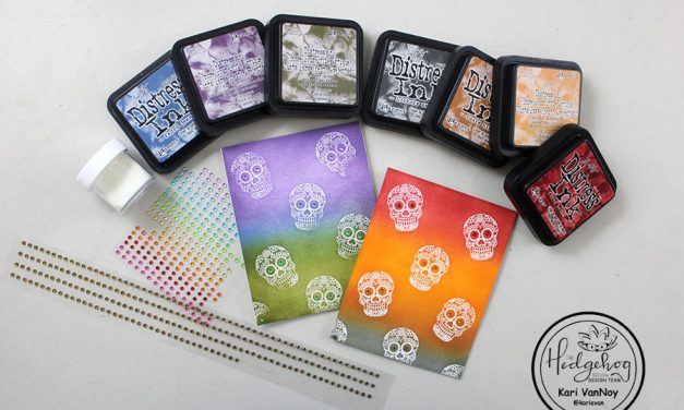 Simple Sugar Skull ink Blended Card and a september card review