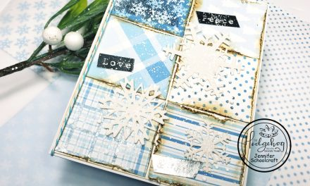 Distressed christmas card using foiled pattern paper
