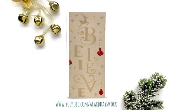 Simple rustic christmas card with ink blending and stickles