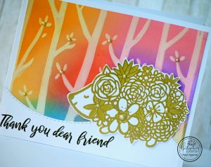 Rainbow Stenciled Thank You Card