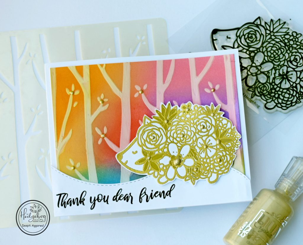Thank You Hedgehog card with supplies