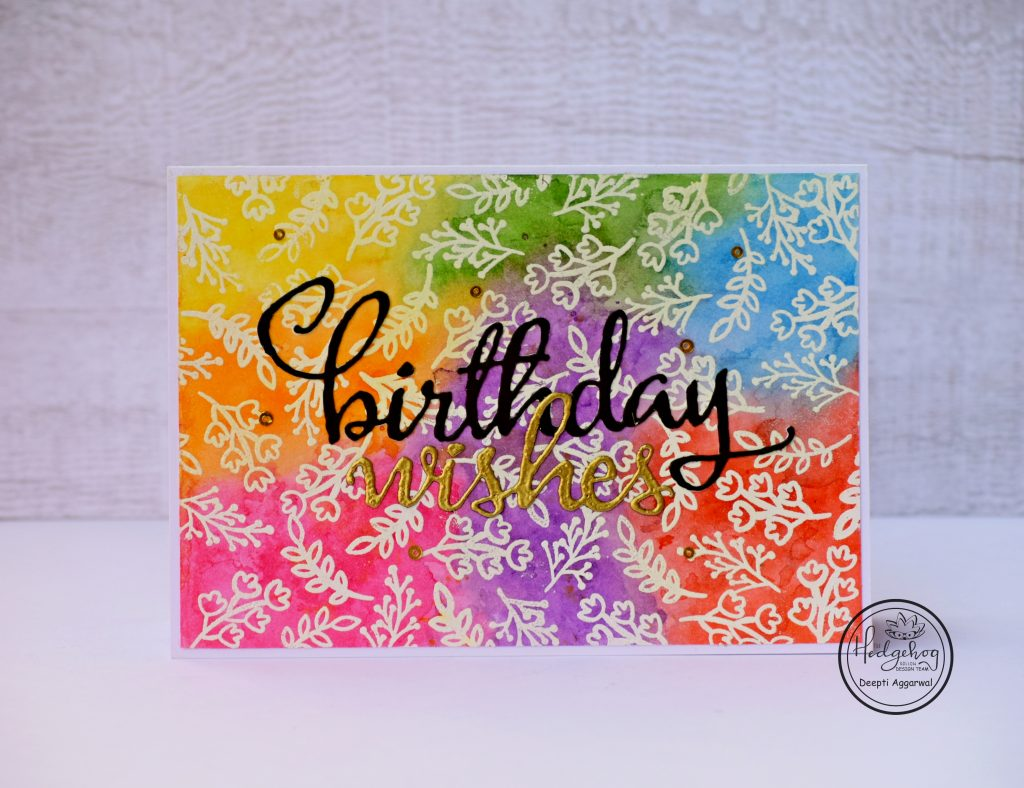 Rainbow colored Birthday Card using small stamp