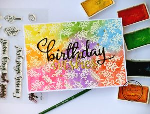 Rainbow water colored Birthday card with supplies