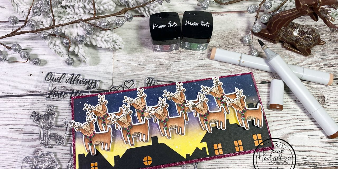 Reindeer Fly Over Slimline Card