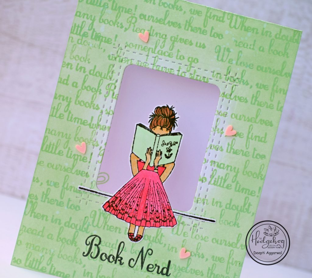 Book Nerd Window card with tone on tone technique