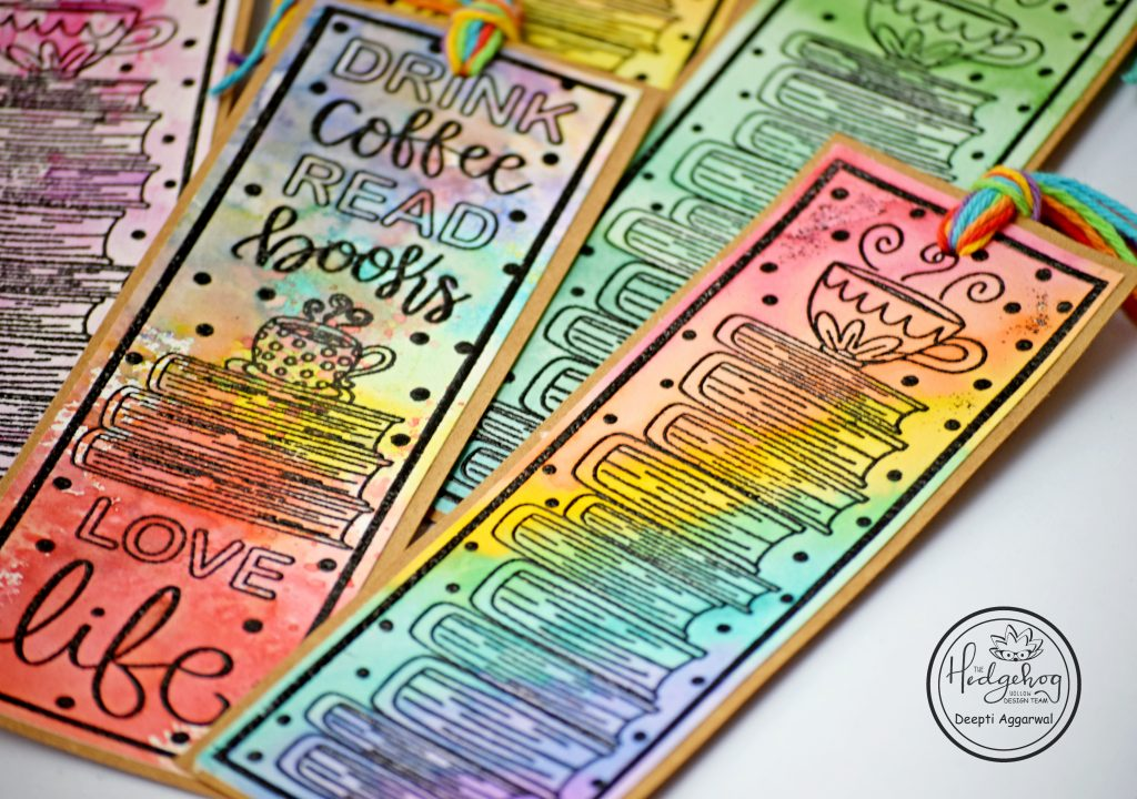 Close up of water colored bookmarks