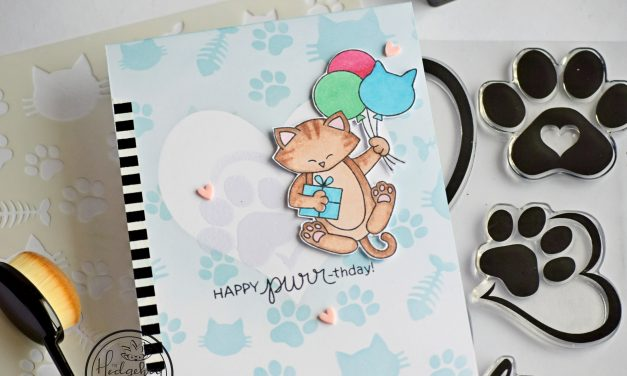 Stenciled Purr-thday Card