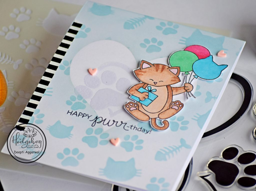 Cat Birthday card with supplies