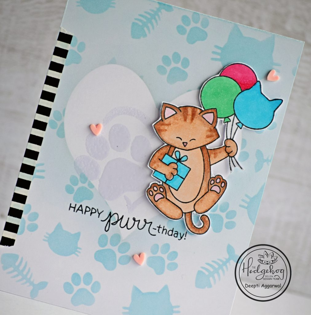 close up - Cat Birthday card with supplies