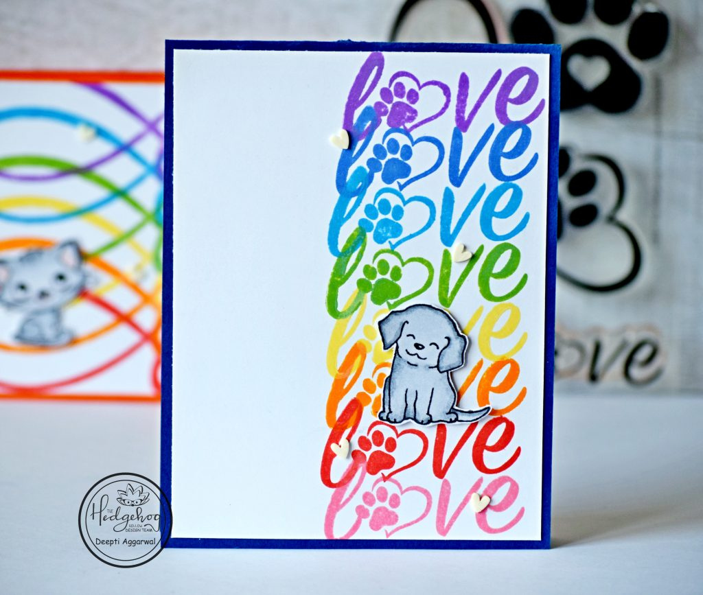 Rainbow colored Puppy love card
