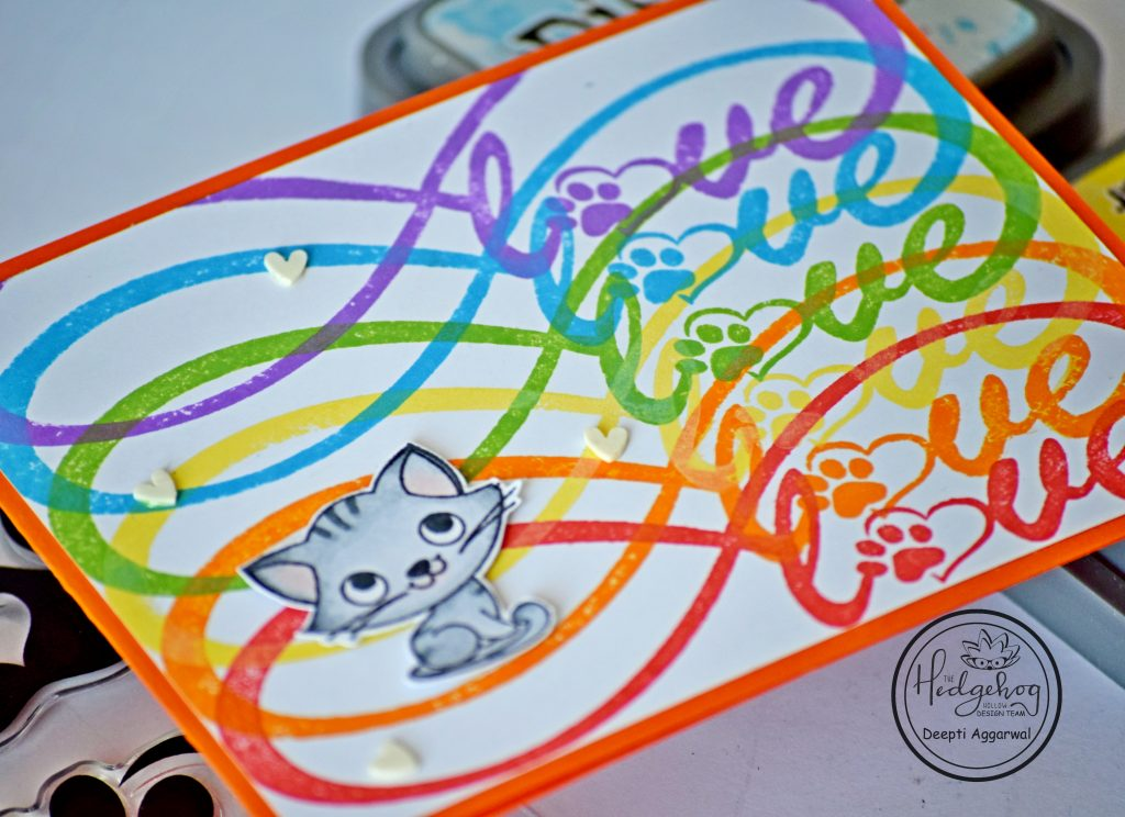 Rainbow Colored  infinity love card for cat
