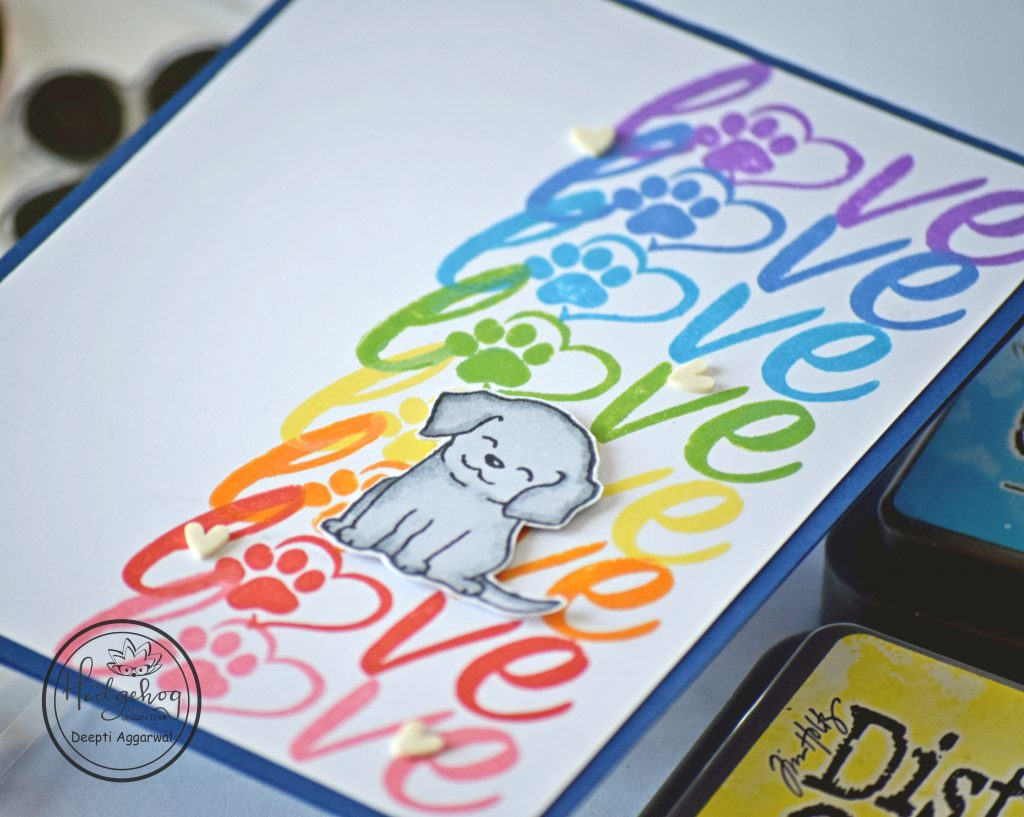 Rainbow colored Love card for dog