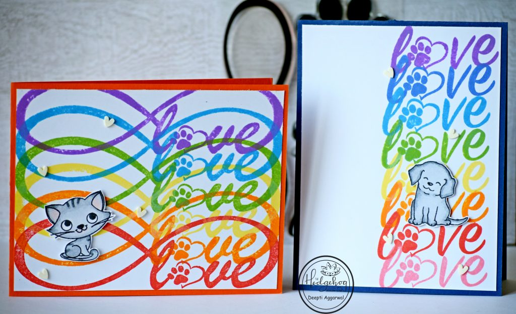 Rainbow colored love cards for Fur babies