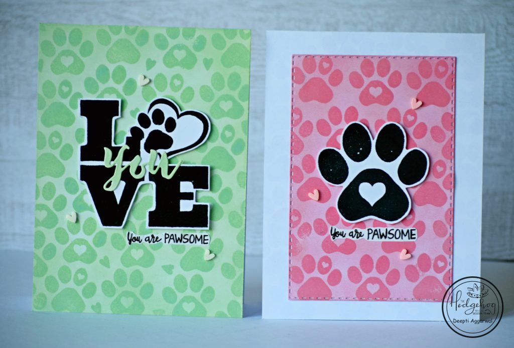 you are pawsome - tone on tone stamped cards