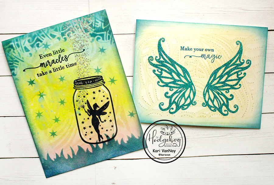 Fairy cards with gel press backgrounds