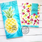 Tropical fruit cards with stencils