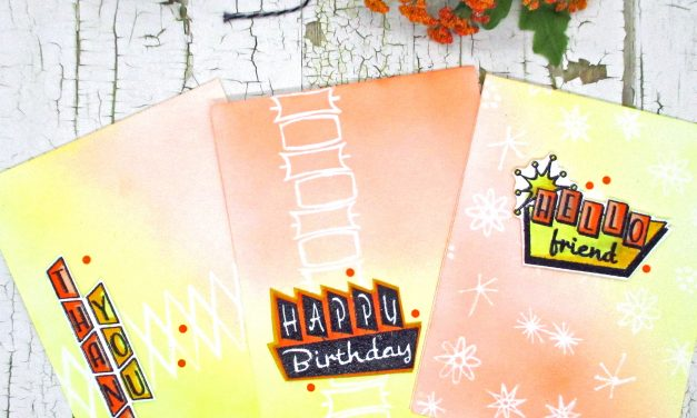 3 Quick And easy emboss resist retro cards