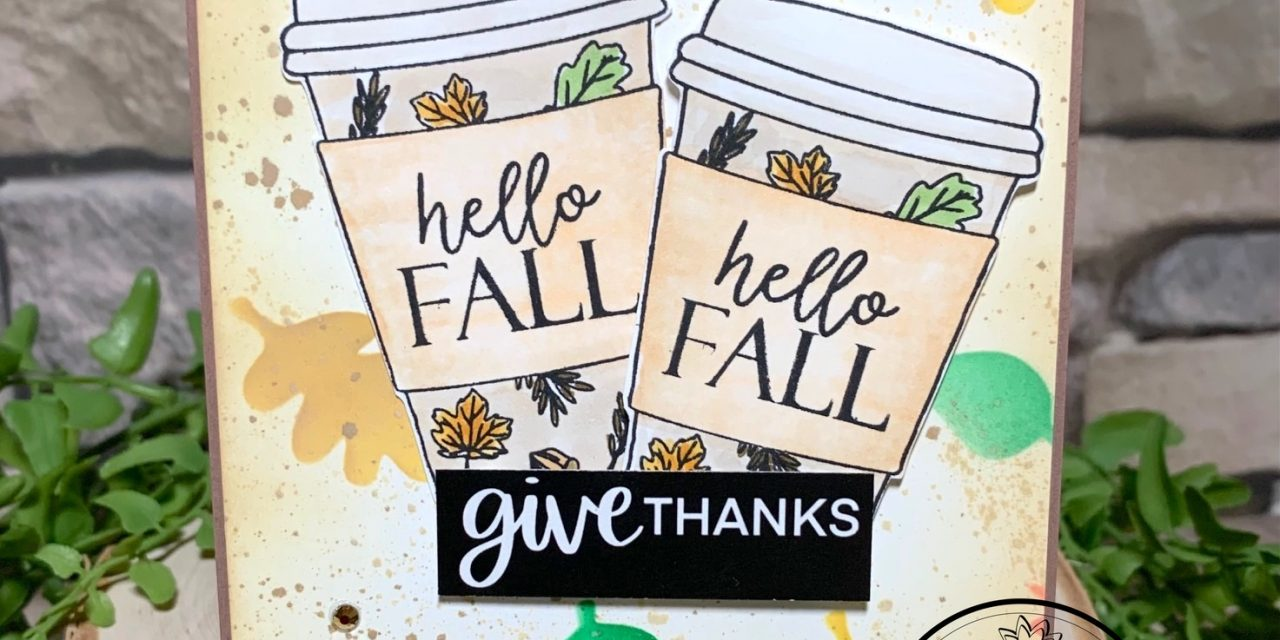 Hello Fall with a Stenciled background